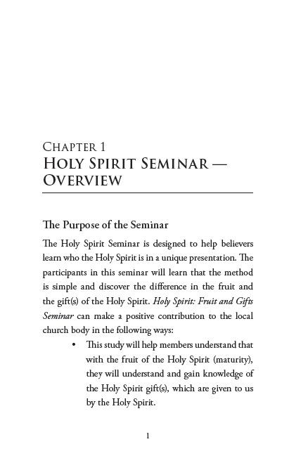Holy Spirit: Fruit and Gifts Seminar; Page 1